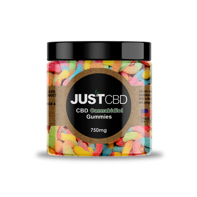 JustCBD Neon Gummy worms 750mg